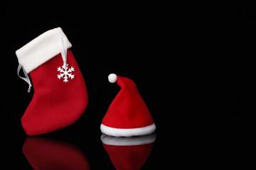 サンタ帽とクリスマスストッキング