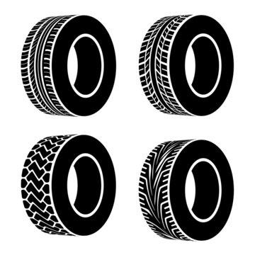 vector black tyre symbols