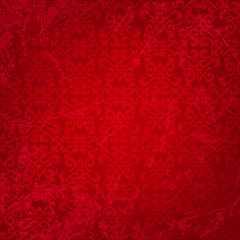 Seamless floral pattern on a red background. Grungy effect.