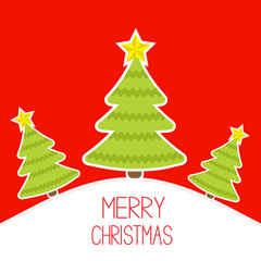 Three Christmas trees a snowy hill.  Merry Christmas card.