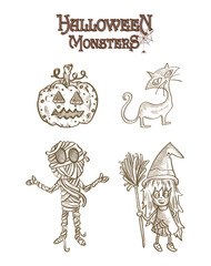 Halloween Monsters spooky characters set EPS10 file.