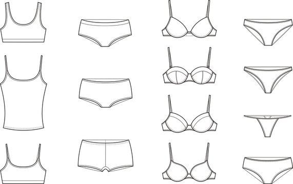 Vector illustration. Set of women's underwear