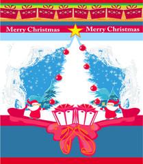 Abstract Christmas card with Santa Claus and Christmas tree fram