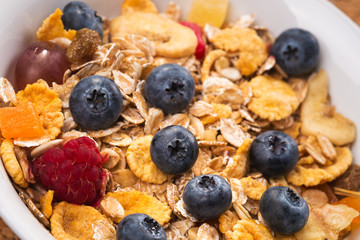 Muesli with berries closeup