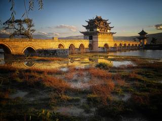 Wall Murals China Double-Dragon-Bridge in Jianshui