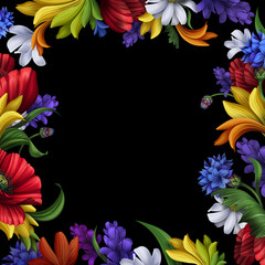flowers frame isolated on black background