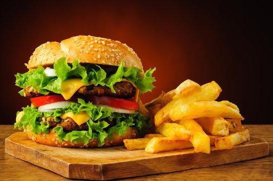 Hamburger closeup detail