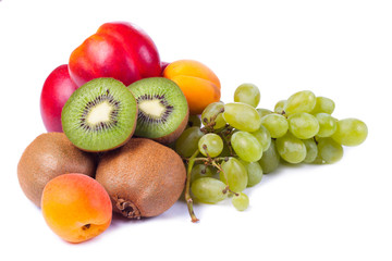 Collection fruits and vegetables isolated on a white background.