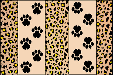 image composed with leopard footprints and leopard skin backgrou