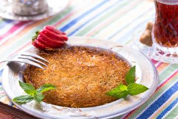 Kunefe, Turkish Dessert with Hot Tea