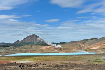 Iceland - blue lagoon at Myvatn lake - Krafla volcanic area