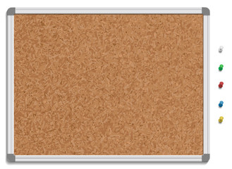 Empty corkboard with colored pins