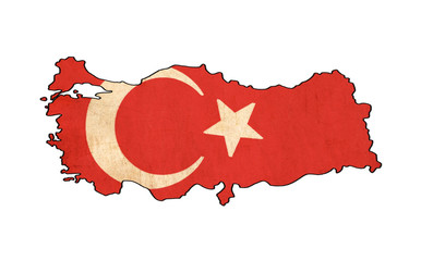 Turkey map on Turkey flag drawing