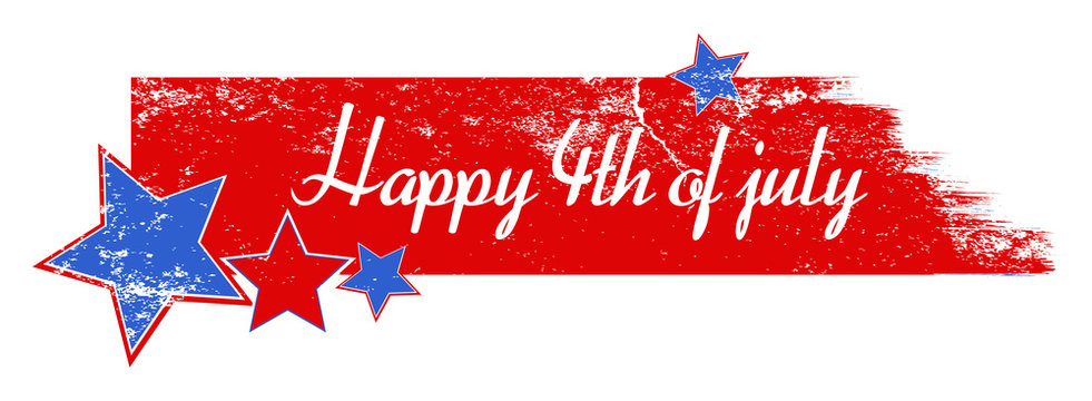 Greeting text over grunge brush stroke - 4th of July Vector
