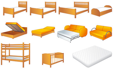 Bedroom furniture set, beds, sofa, vector