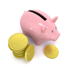 Piggy bank with coin, on white