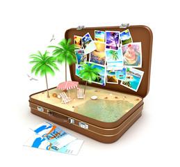 3d open travel suitcase