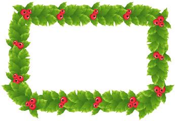 Holly frame. Vector.