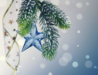 Christmas background with fir branches and star