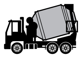 Concrete mixer truck, vector illustration