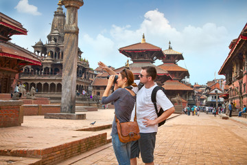 Beautiful young couple at Durbar Sqaure in Patan city, Nepal