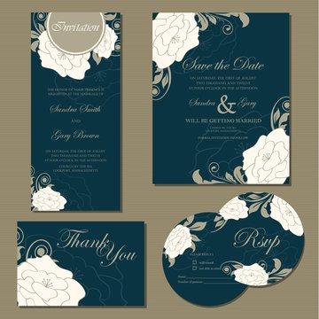 Beautiful vintage wedding invitation cards