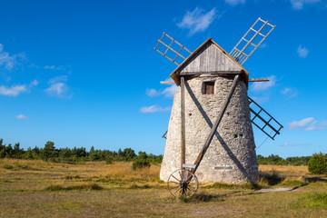 Stone windmill in Gotland, Sweden