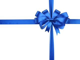 Bowknot of blue ribbon.