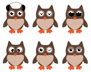 vector set of funny owls