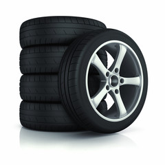 Set of car wheels.
