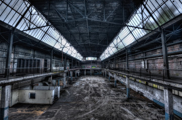 Empty warehouse of an abandoned factory