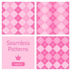 Set of cute pink girlish seamless patterns.