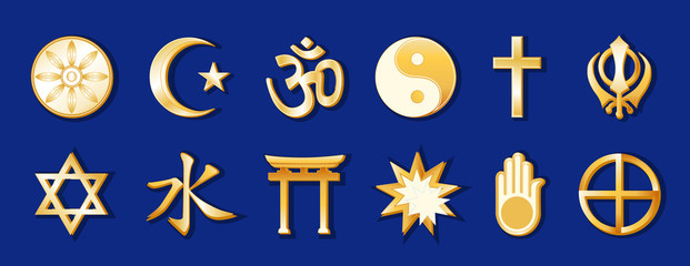 World Religions, 12 international faith symbols, beliefs, blue