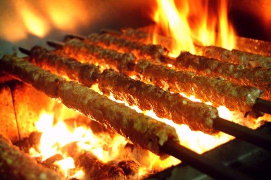Indian kebabs on skewers