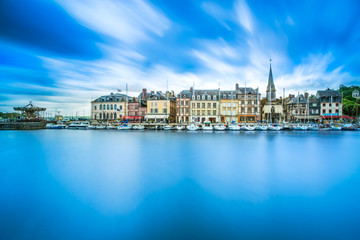 Honfleur skyline harbor and water reflection. Normandy, France Fototapete