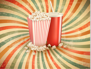 Retro background with Popcorn and a drink. Vector illustration.