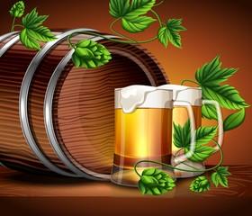 Бочка Пенного пива с плодами хмеля