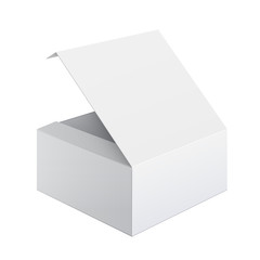 Cool Realistic White Box Opened. Square shape