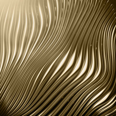 Abstract golden metal strips background - cgi render