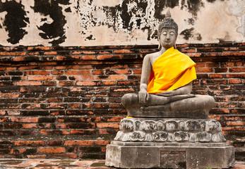 old Meditation Buddha statue, Thailand