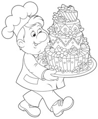 Pastry cook with a cake