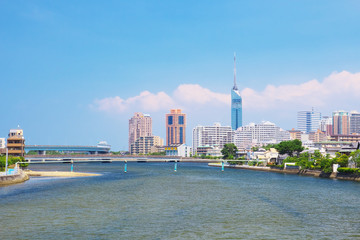 Fukuoka Tower and Muromi River