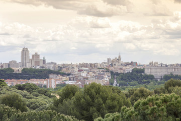 Madrid skyline with dramatic sky