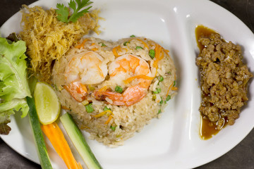 Fried rice with Chili shrimps Thai food