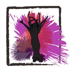 Framed streetdancers on purple background