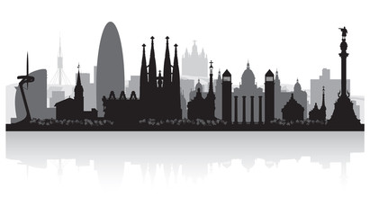 Fototapete - Barcelona Spain city skyline silhouette