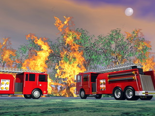Fire trucks in action - 3D render