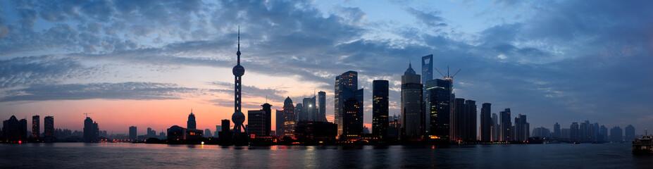 Aluminium Prints Shanghai Shanghai morning silhouette