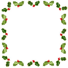 Holly leaves and berries frame