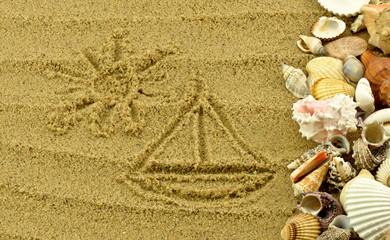 Fototapeta Rysunek na piasku z muszlami obraz